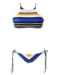 Women's Catamaran Stripe String Tie 2pcsTankini Swimsuit