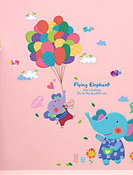 Cartoon Flying Cute Elephant Balloon Wall Stickers PVC Removable Children's Bedroom Wall Decals