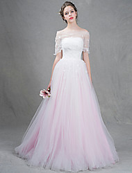 A-line Wedding Dress Floor-length Strapless Tulle with Appliques / Beading / Pearl