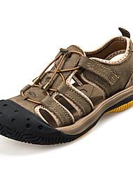 Masculino-Sandálias-Bico Fechado / Sandálias-Rasteiro-Marrom / Caqui-Couro-Casual