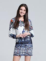 Women's Club Sexy Bodycon Dress,Print Round Neck Mini Long Sleeve Blue Cotton Fall High Rise Micro-elastic Thin