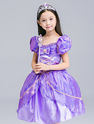 Ball Gown Knee-length Flower Girl Dress - Organza / Satin Short Sleeve Square with Bow(s) / Ruffles