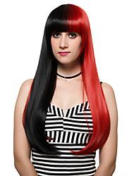 cabelo vermelho e preto longo e adução peruca de moda, discoteca.