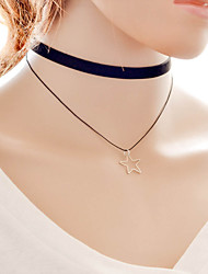 Women's Choker Necklaces Pendant Necklaces Tattoo Choker Alloy Fabric Star Tattoo Style Double-layer Fashion Adjustable Black Jewelry
