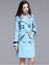 manquer français casual / jour / street chic manteau / sophistiqué tranchée, solide / lettre a atteint un sommet bleu revers manches longues hiver