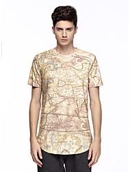 Tee-Shirt Pour des hommes A Motifs Décontracté Manches Courtes Coton / Spandex Jaune