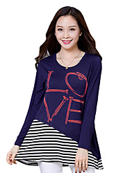 Spring / Fall Plus Size/Going out/Casual/Daily Women's Tops Round Neck Long Sleeve Striped/Letter Printing T-shirt