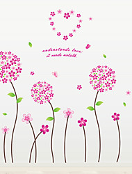 Wedding Room Romance Round Flower Heart Wall Stickers DIY Living Room Bedroom Wall Decals