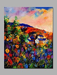 Landscape Painting Art Canvas Modern Floral And House Handmade Framed Acrylic Painting