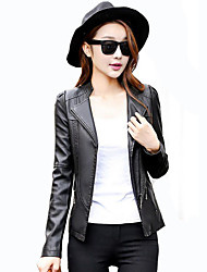 Women's Casual/Daily Street chic Spring / Fall Leather Jackets,Solid Peaked Lapel Long Sleeve Red / Black PU Medium
