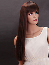 Brown Color Long Straight Wigs Capless Synthetic Wigs For Women