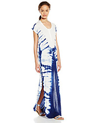 Women's Going out Street chic Loose DressPrint Round Neck Maxi Short Sleeve Blue Cotton Summer Mid Rise