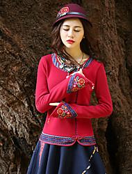 Mujer Regular Pullover Noche Vintage,Bordado Rojo / Morado Escote Redondo Manga Larga Algodón Primavera / Otoño Medio Microelástico
