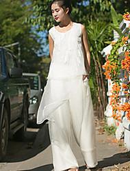 Mulheres Calças Simples Chinos Linho Sem Elasticidade Mulheres