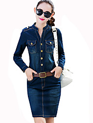 Women's Casual/Daily Vintage / Simple Slim Classic Sheath / Denim DressSolid Round Neck Above Knee Long Sleeve Mid Rise