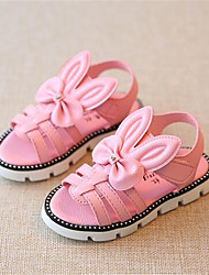 Girls' Sandals Summer Leather Casual Flat Heel Bowknot White Blushing Pink