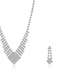 2016 Luxury Note Wedding Bridal Silver Zircon Necklace Earrings Party Jewelry Set