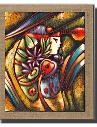 Modern Wall Art Oil Painting Abstract Woman Hand Painted On Natural Linen With Stretched Frame For Living Room