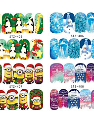 Nail Art Decals Sticker Christmas Water Transfer Full Cover Nail Sticker Snow Flower Cartoon Pattern Manicure STZ405-420
