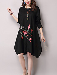 Women's Casual Chinoiserie Loose Dress Print Asymmetrical Long Sleeve White / Black Cotton / Linen Spring / Fall Medium