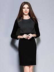 AINIER  Women's Formal / Work Simple Sheath DressColor Block Round Neck Above Knee Long Sleeve Black