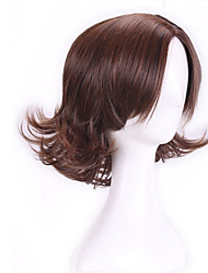 Ladies Women Wig Natural Real Hair Layered Brown Wig Curly Short Brown Wigs Cosplay Heat Resistant