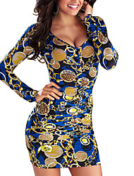 Women's Going out / Party/Cocktail Sexy Bodycon / Loose DressPrint Round Neck Above Knee Long Sleeve Blue