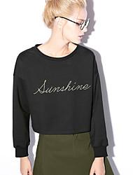 nouvelle avant occasionnel / journalier simple court hoodiesembroidered bleu / rouge / noir autour du cou des femmes à long