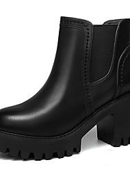 Damen-Stiefel-Büro / Lässig-Kunststoff-Blockabsatz-Armeestiefel / Modische Stiefel-Schwarz