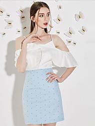 j&d gaine women'scute sangle dresspatchwork dessus du genou manches courtes polyester blanc été grande hauteur inélastique