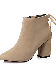 Women's Boots Fall / Winter Comfort / Pointed Toe / Closed Toe  Casual Chunky Heel Zipper / Lace-up