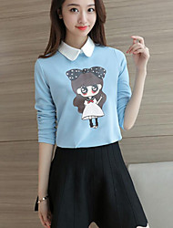 Women's Casual/Daily Simple Fall T-shirtPrint Peter Pan Collar Long Sleeve Blue / Red / White Polyester Opaque