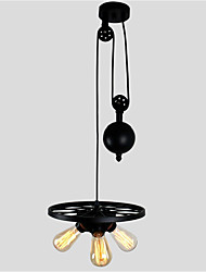 Black Vintage Metal Wheel Hanging Pendant Lights Pulley Pendant Light With 3 Lights Painted Finish