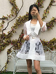 Boutique S Going out Sophisticated Sheath DressFloral Strapless Above Knee  Sleeve White / Black Rayon