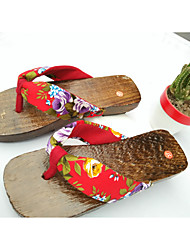 Women's Flats Spring / Summer / Fall Scuff Wood Casual Flat Heel Satin Flower / Ribbon Tie / Lace-up