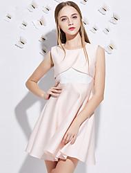 Trapèze Robe Femme Sortie Mignon,Mosaïque Col Arrondi Au dessus du genou Sans Manches Rose Polyester Eté Taille Haute Non Elastique Moyen