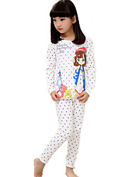 Girl's Casual/Daily Polka Dot Print Cotton Sleepwear