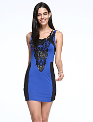 Women's Patchwork  Lace Blue  Yellow Dress , Sexy  Bodycon Round Neck Sleeveless