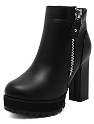 Women's Boots Side Zipper Ankle Boots Round Toe Chunky Middle Heel Combat Boots Fur Lining Antiskid Boots