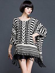 Women's Casual/Daily Street chic Regular Cloak / Capes,Jacquard Black Rabbit Fur / Rayon / Nylon Fall / Winter Medium