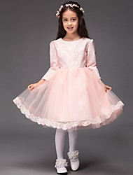 Ball Gown Knee-length Flower Girl Dress - Lace / Tulle Long Sleeve Jewel with Bow(s)