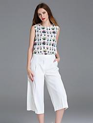 frmz Frauenarbeit netten Sommer blousefloral Rundhals ärmellosen weißen Polyester Medium