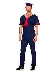 Costumes Uniforme de police Halloween Bleu Couleur Pleine Térylène Haut / Pantalon / Chapeau / Cravate