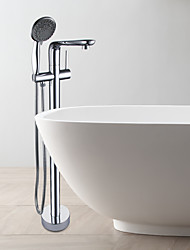 Contemporary Tub Bathtub Faucet / Shower Handshower Included / Floor Standing / Ceramic Valve / Single Handle / Chrome