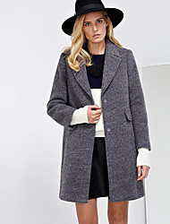 C+IMPRESS Women's Work Simple CoatSolid Peaked Lapel Long Sleeve Winter Gray Wool / Polyester Thick