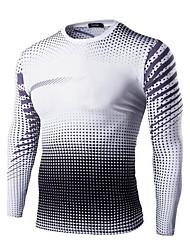 Herren T-shirt-Druck Freizeit / Sport Baumwolle Lang-Blau / Orange / Lila / Weiß
