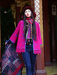 Our Story Women's Going out Boho JacketsSolid / Embroidered V Neck Long Sleeve Winter Red Wool / Polyester Medium