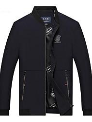 Herren Jacke Einfarbig Freizeit Baumwolle / Polyester Lang-Schwarz / Blau / Rot