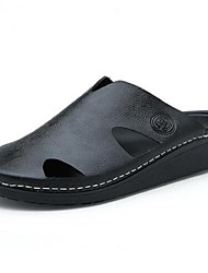 Men's Slippers & Flip-Flops Summer Comfort Leather Casual Flat Heel Black Brown Blue