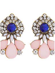 Fashion 2016 Elegant Crystal Flower Stud Earrings Pink Color Charm Water Drop Earrings For Women Party Wedding Jewelry